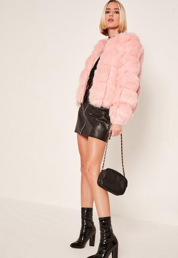 Pink Bubble Faux Fur Bomber Jacket | Missguided
