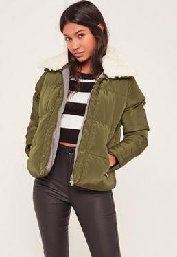 Khaki Padded Faux Shearling Collar Bomber Jacket