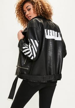 Black Boyfriend Slogan Biker Jacket