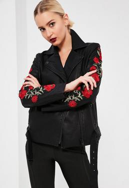 Black Floral Embroidered Faux Leather Jacket