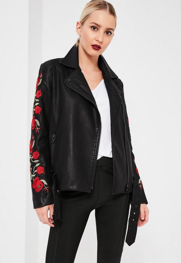 Black Floral Embroidered Faux Leather Jacket | Missguided