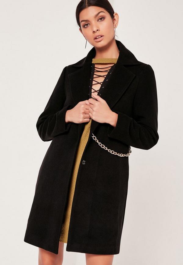 Chain Detail Faux Wool Coat Black