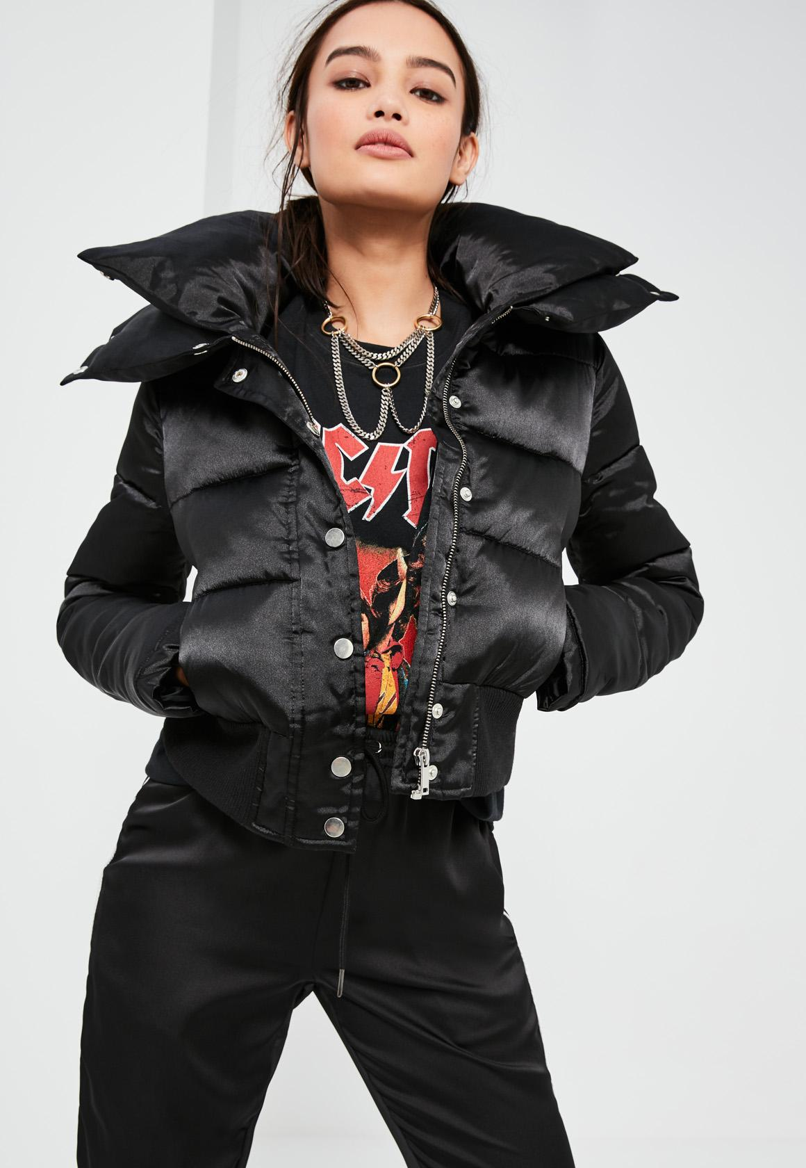 Black Short Satin Padded Jacket | Missguided