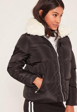 Black Padded Faux Shearling Collar Bomber Jacket