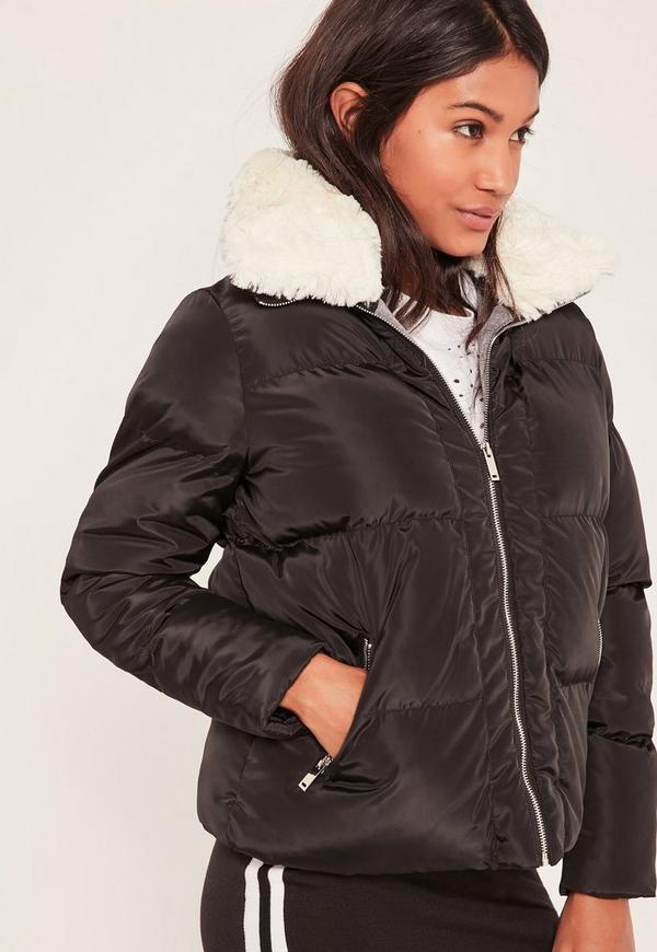 Black Padded Faux Shearling Collar Bomber Jacket