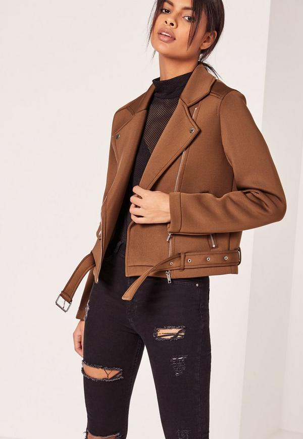 Neoprene Biker Jacket Brown