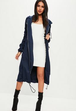 Langer Longline Kapuzen-Parka-Mantel mit aufgerüschten Ärmeln in blauem Navy