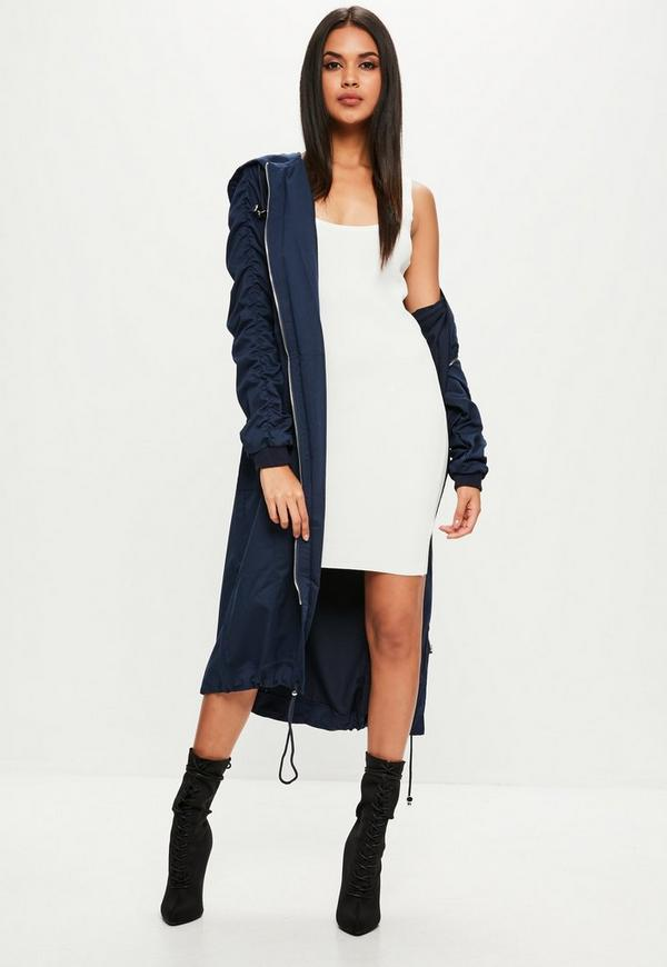 Navy Ruched Sleeve Longline Parka Coat | Missguided