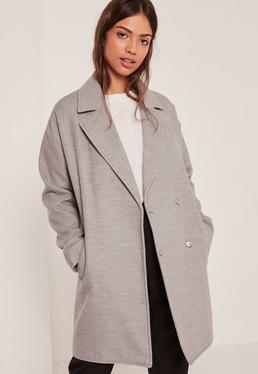 Grey Drop Shoulder Double Breasted Faux Wool Coat