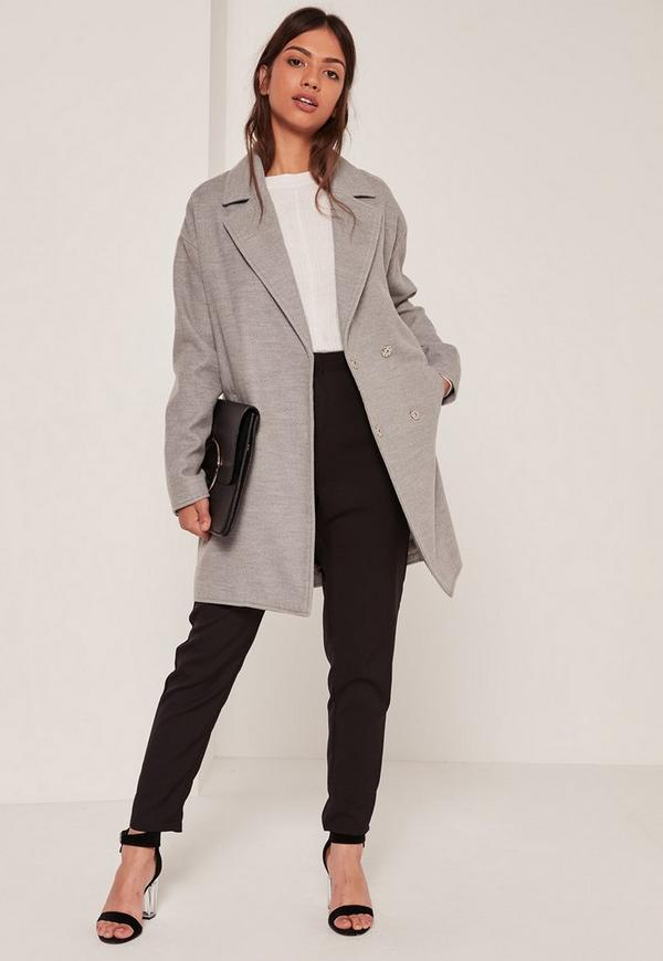 Grey Drop Shoulder Double Breasted Faux Wool Coat | Missguided