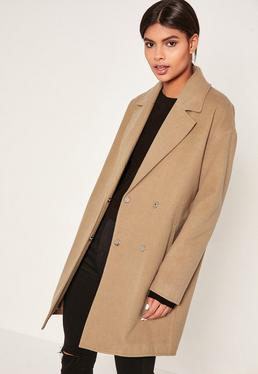 Camel Drop Shoulder Double Breasted Faux Wool Coat