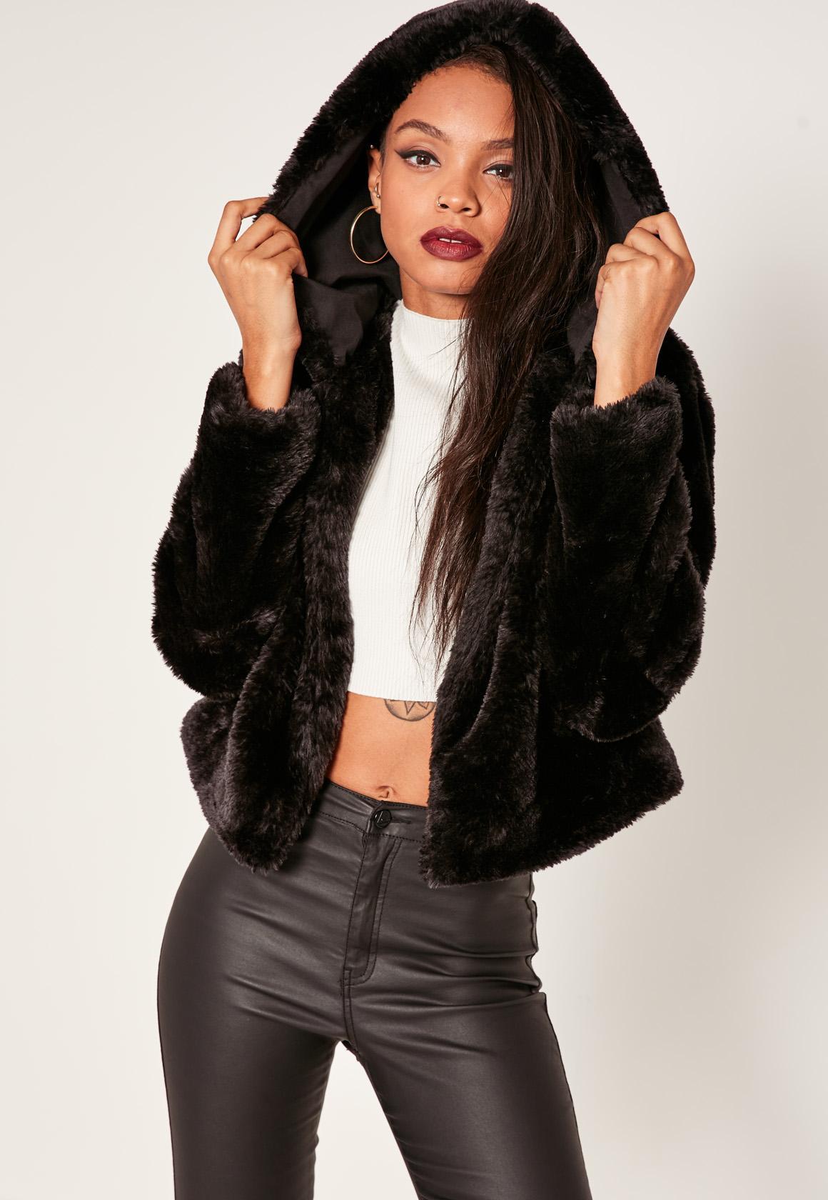 Black Hooded Short Faux Fur Coat | Missguided