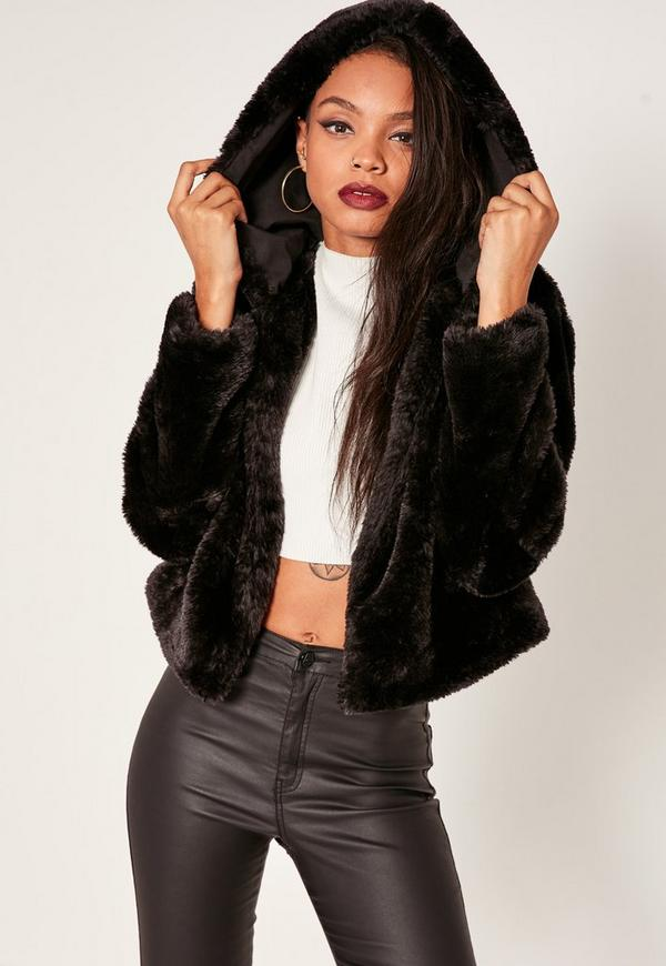 Black Hooded Short Faux Fur Coat