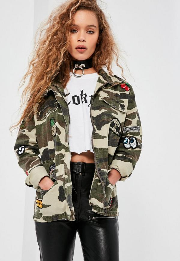 green camo badge utility jacket missguided. Black Bedroom Furniture Sets. Home Design Ideas