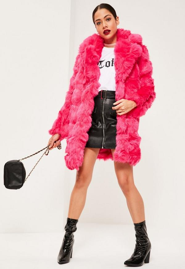 Hot Pink Bubble Faux Fur Coat | Missguided