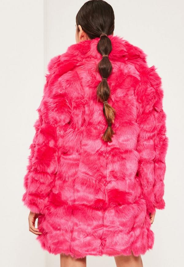 Hot Pink Bubble Faux Fur Coat | Missguided Ireland