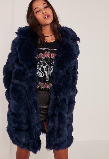 Navy Bubble Faux Fur Coat - Missguided