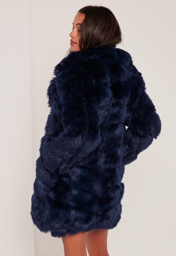 Navy Bubble Faux Fur Coat | Missguided