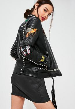 Black Faux Leather Badge Studded Biker Jacket