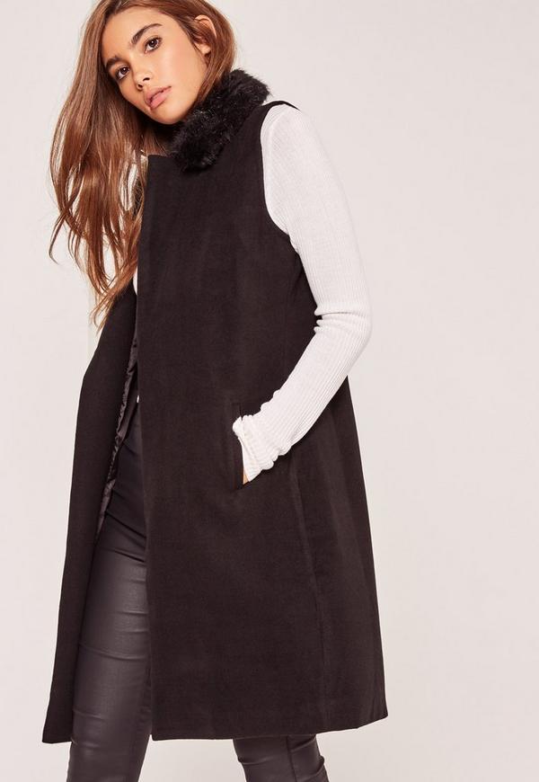 manteau noir sans manches avec col en fausse fourrure. Black Bedroom Furniture Sets. Home Design Ideas