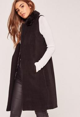 Sleeveless Faux Fur Collar Tailored Coat Black