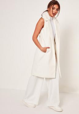 White Sleeveless Faux Fur Collar Tailored Coat