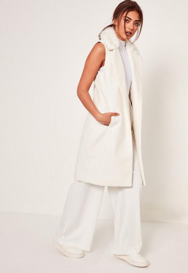 White Sleeveless Faux Fur Collar Tailored Coat