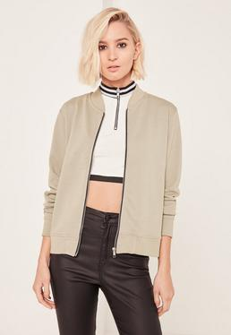 Green Loopback Bomber Jacket