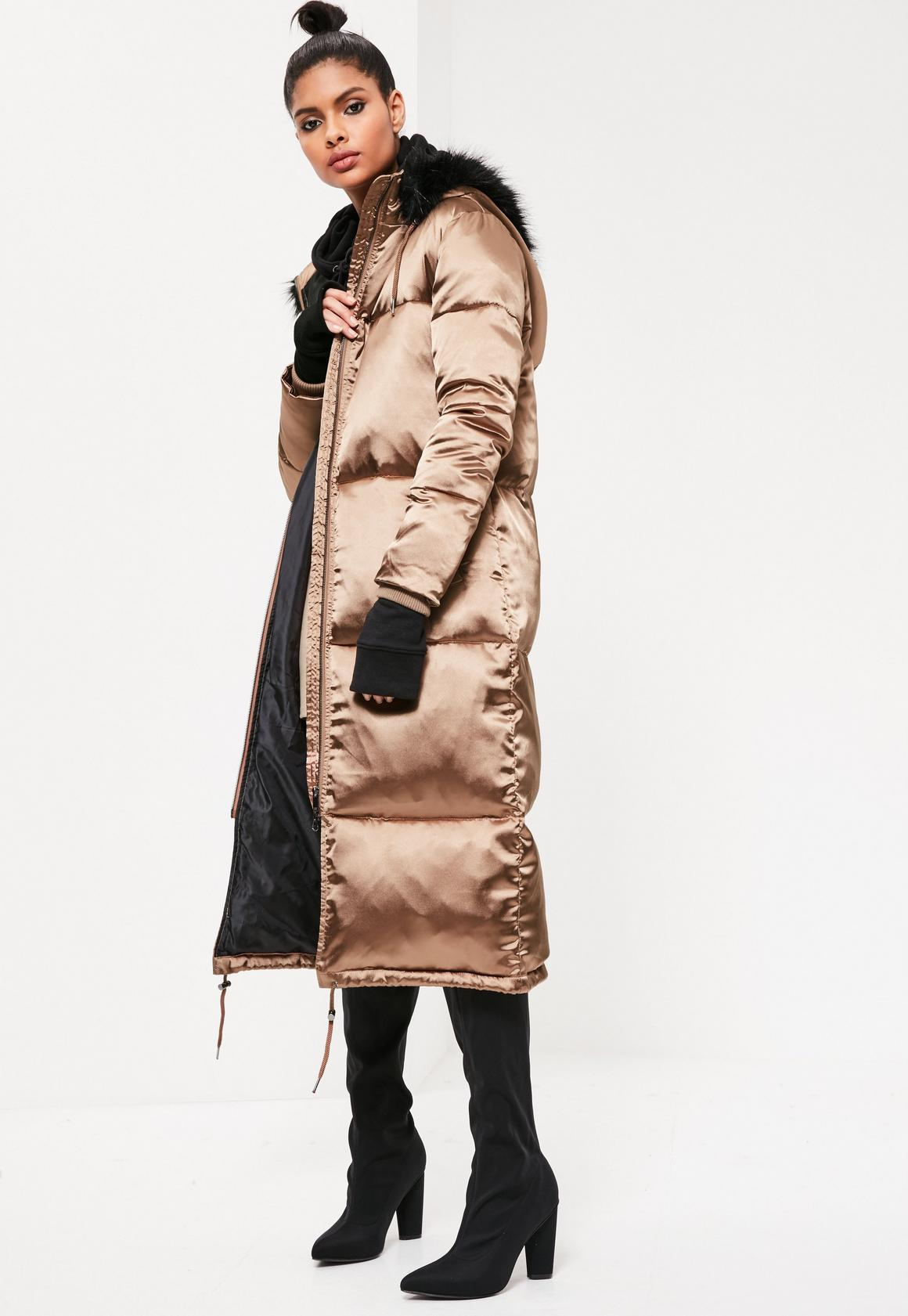Bronze Longline Satin Padded Coat | Missguided