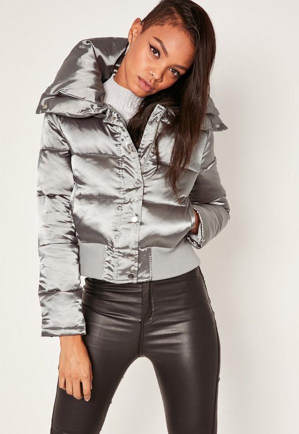 Silver Satin Short Puffa Jacket - Magento