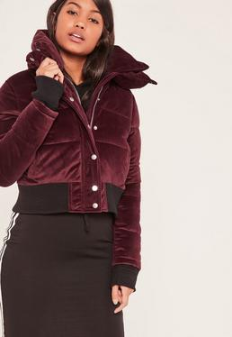 Burgundy Velvet Cropped Padded Coat