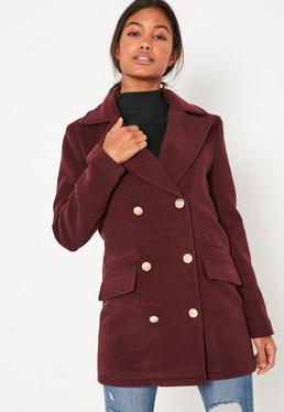Burgundy Short Faux Wool Military Coat