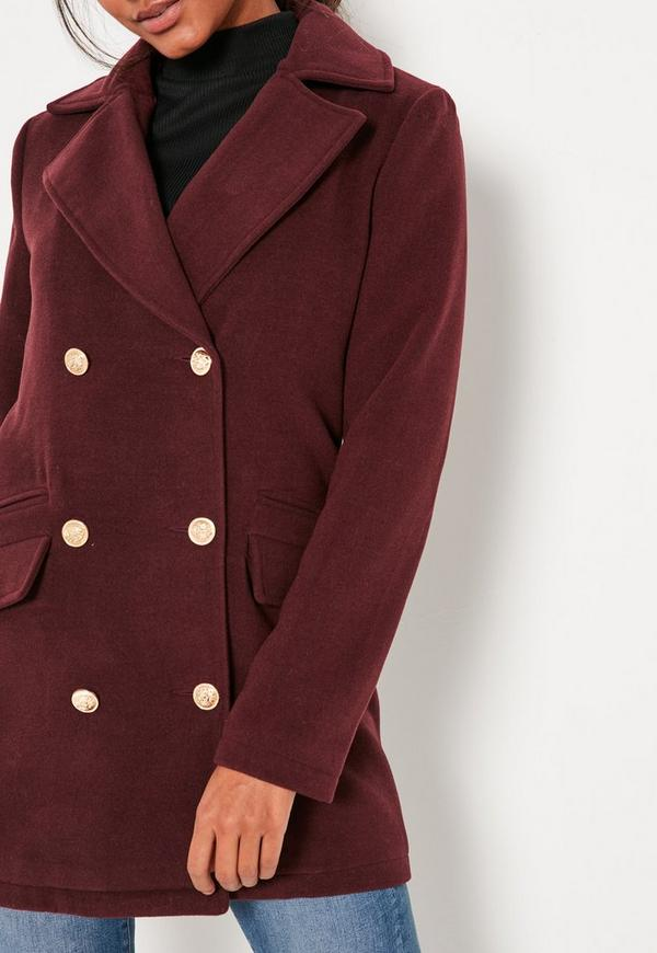 Burgundy Short Faux Wool Military Coat - Missguided