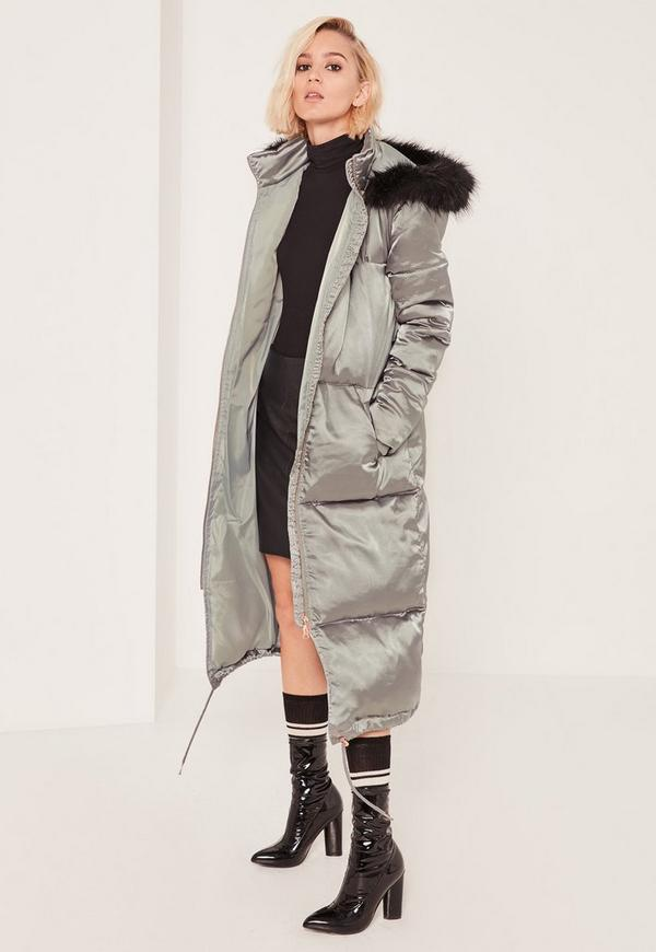 Grey Longline Satin Padded Coat