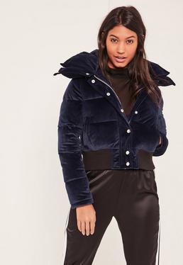 Manteau matelassé en velours bleu marine