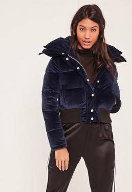 Navy Velvet Cropped Padded Coat