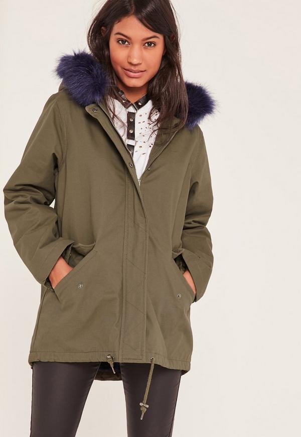 Khaki Short Faux Fur Lined Parka Coat - Missguided