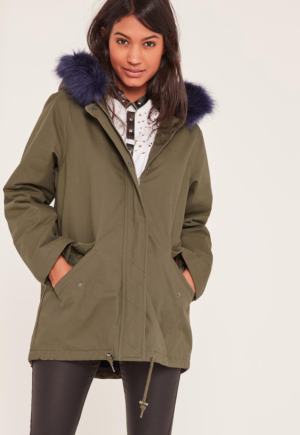 Khaki Faux Fur Lined Parka Coat | Missguided Ireland