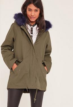 Khaki Faux Fur Lined Parka Coat