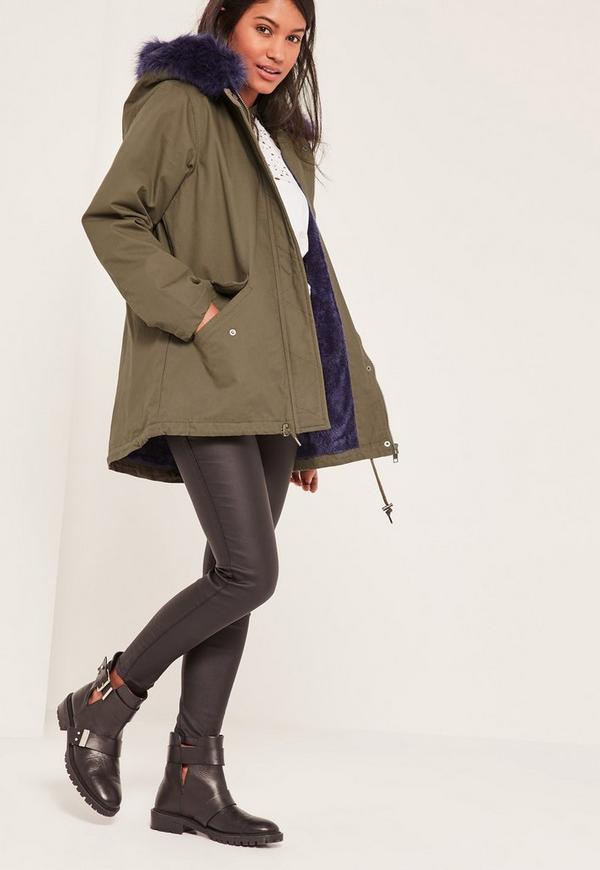 Khaki Faux Fur Lined Parka Coat | Missguided