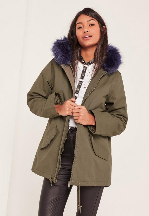 Blue Faux Fur Lined Parka Coat - Missguided