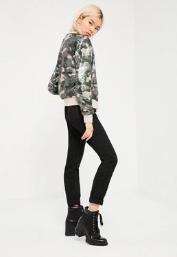 Bomber vert kaki camouflage sequins