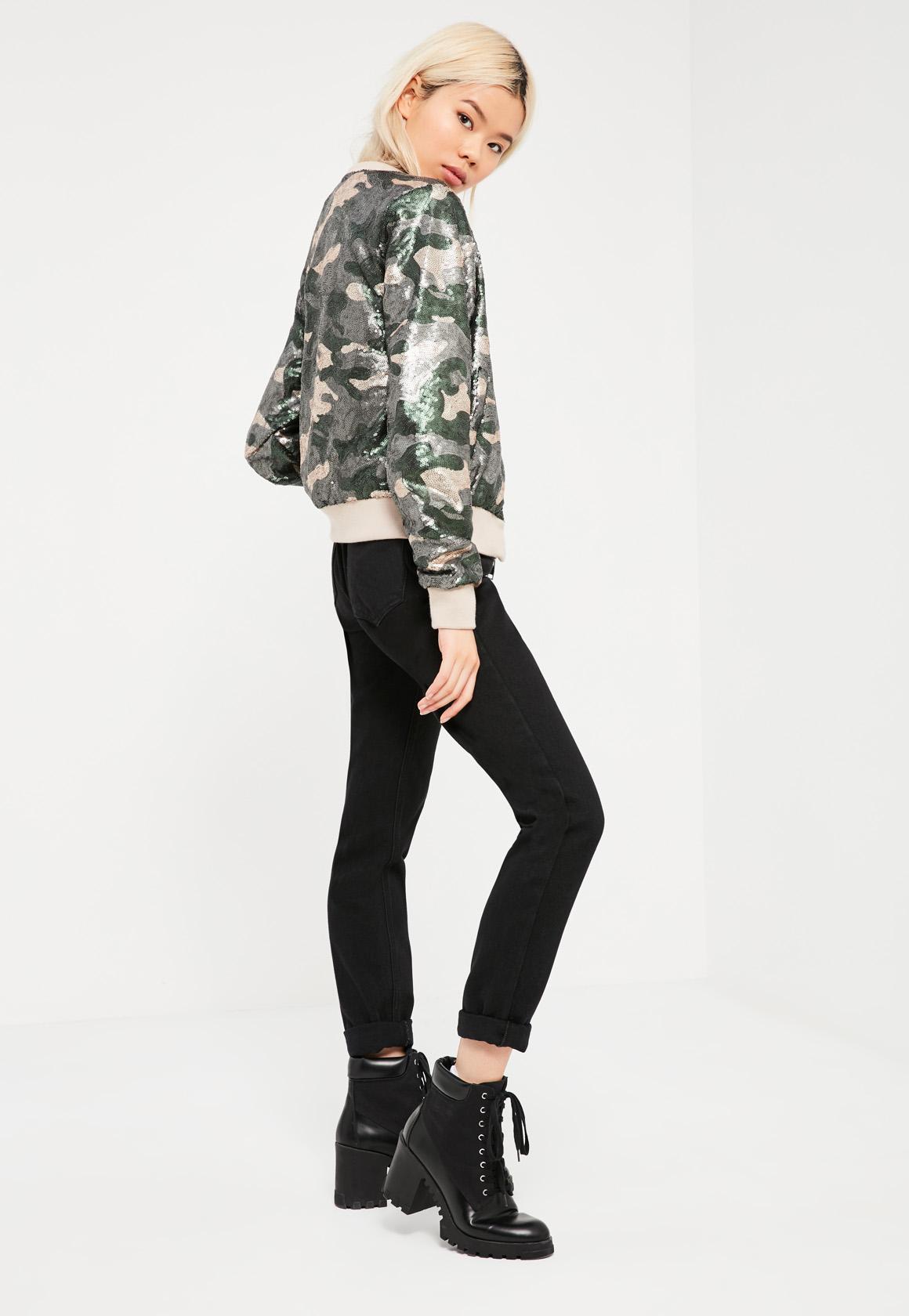 Khaki Camo Sequin Bomber Jacket