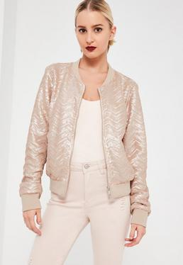 Nude Chevron Pattern Sequin Bomber Jacket