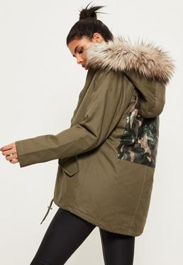 Khaki Hooded Camouflage Detail Parka