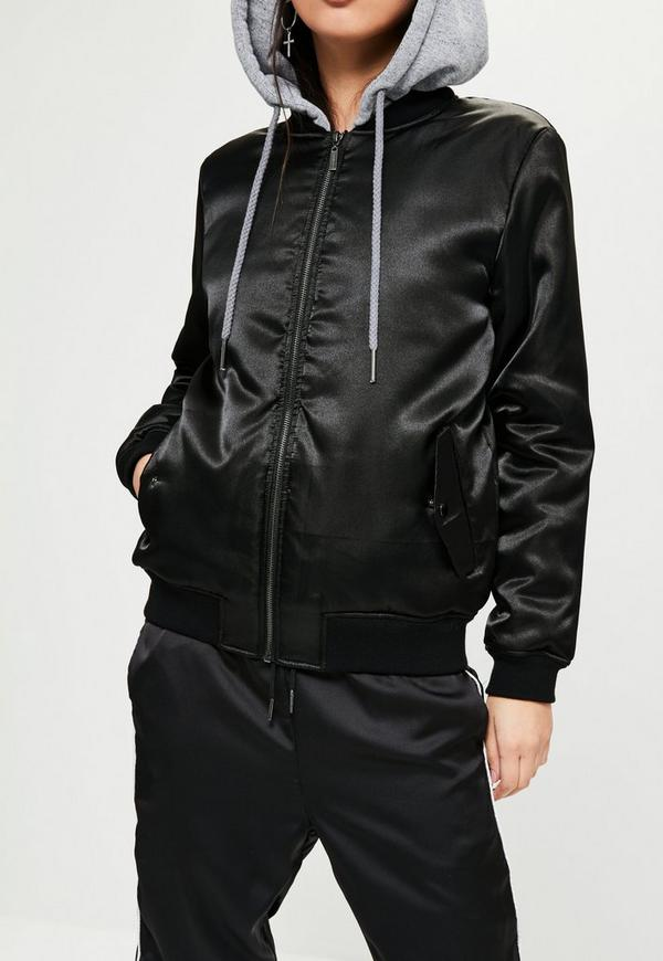 Black Hooded Satin Bomber Jacket | Missguided