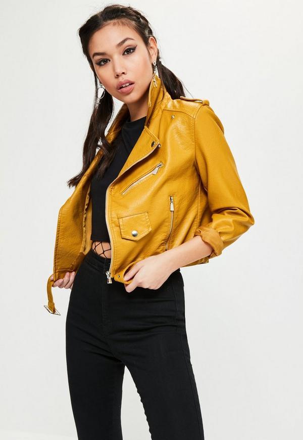 Faux Leather Biker Jacket Yellow