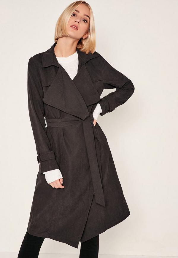 Black Waterfall Duster Coat