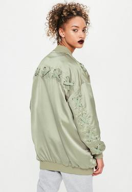 Green Satin Lace Detail Bomber Jacket