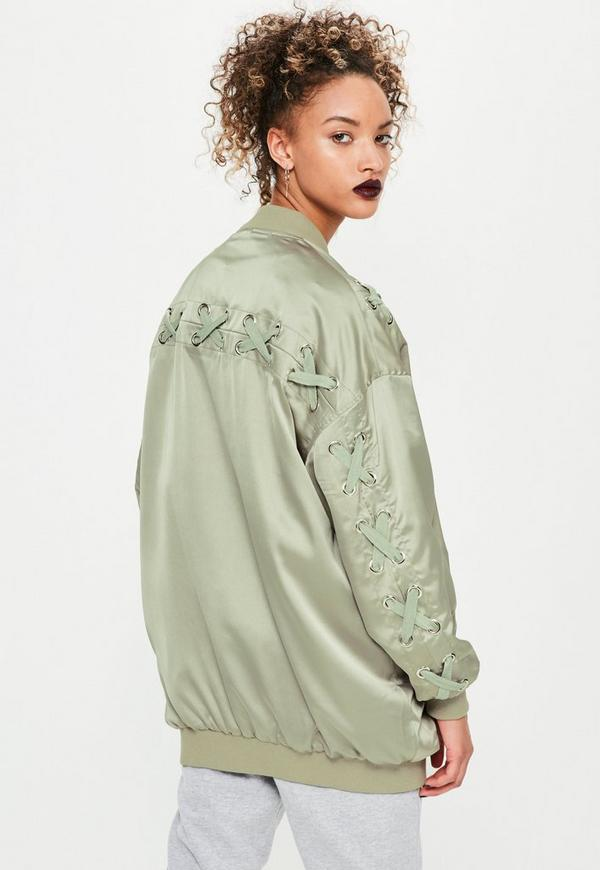Green Satin Lace Detail Bomber Jacket